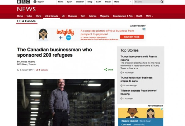 Jim Estill Syrian Refugee BBC News Article