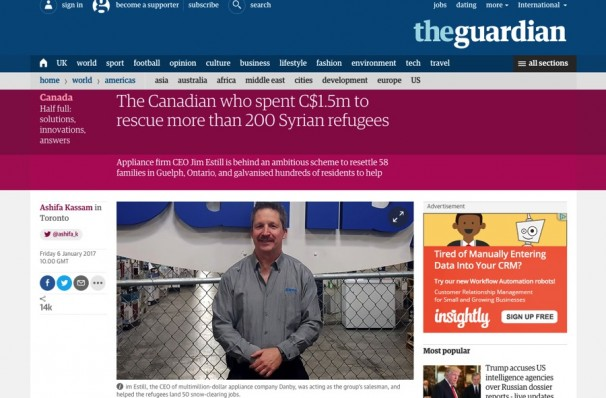 Jim Estill Syrian Refugee Guardian Article