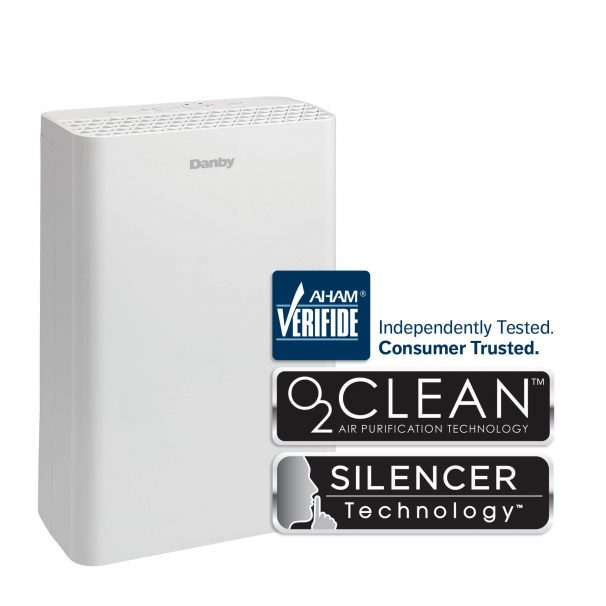 DANBY Air Purifier for small rooms and offices up to 170 sq. ft., True HEPA filter, Ionizer, Air Cleaner for Droplet Particles, Smoke, Pollens, Dust, Removes Odor, Ultra Quiet, Child Lock, 110 CADR, 233 CFM - DAP110BAWDB