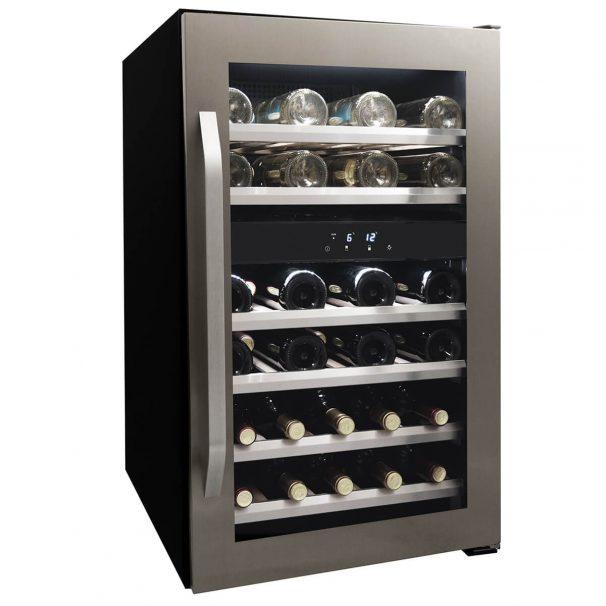 Danby 46 Bottle Freestanding, Dual Zone Wine Cooler in Stainless Steel - DWC114KD1BSS