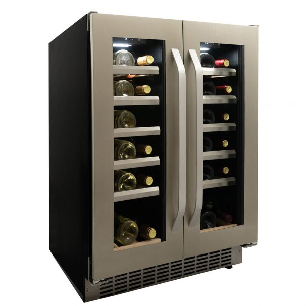 Danby 40 Bottle French Door Freestanding, Dual Zone Wine Cooler in Stainless Steel - DWC120KD1BSS