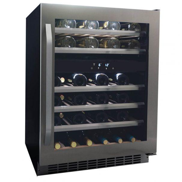 Danby 46 Bottle Freestanding, Dual Zone Wine Cooler in Stainless Steel - DWC134KD1BSS