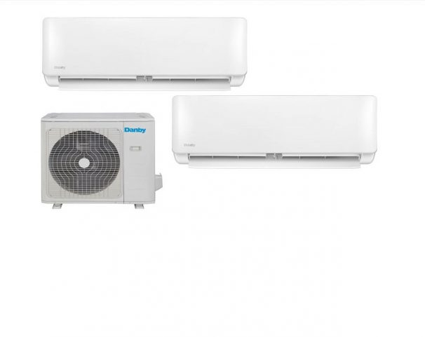 Danby 18,000 BTU Mini-Split Air Conditioner with dual Air Handlers; Heat pump and variable speed inverter - DAS180DBAHWDB