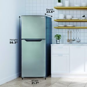Danby apartment size fridge with dimensions shown in kitchen