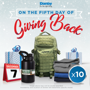 Danby backpack, water jug, hoodie, mask, and MORE bundle