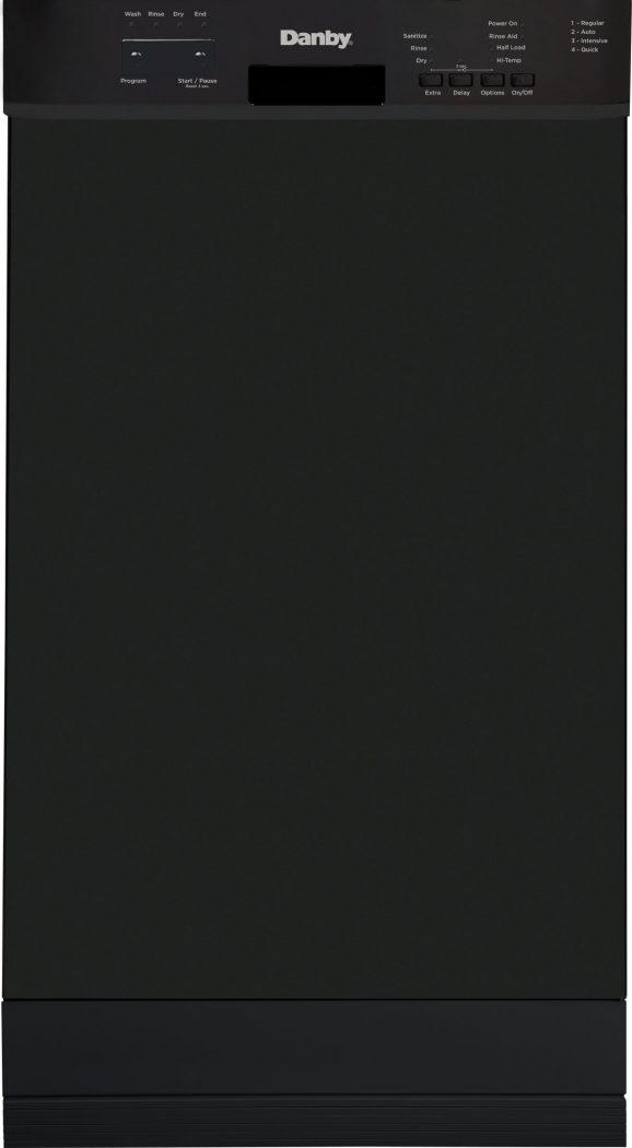 Lave-vaisselle encastré de 18 po de Danby avec commandes à l'avant (noir) - DDW18D1EB